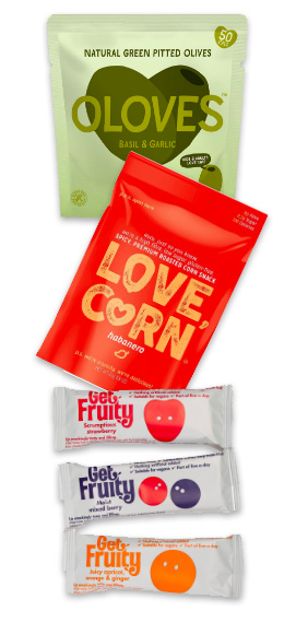 OLoves, Love Corn, Get fruity bars